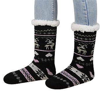 FOONEE Sherpa Calcetines para Mujer, Calcetines con Forro Polar, Calcetines para el hogar,