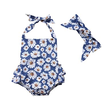 f6ee257d46 VISGOGO 2PCS Newborn Baby Girl Floral Clothes Long Sleeve Small Daisy Romper  Bodysuit Jumpsuit + Headband