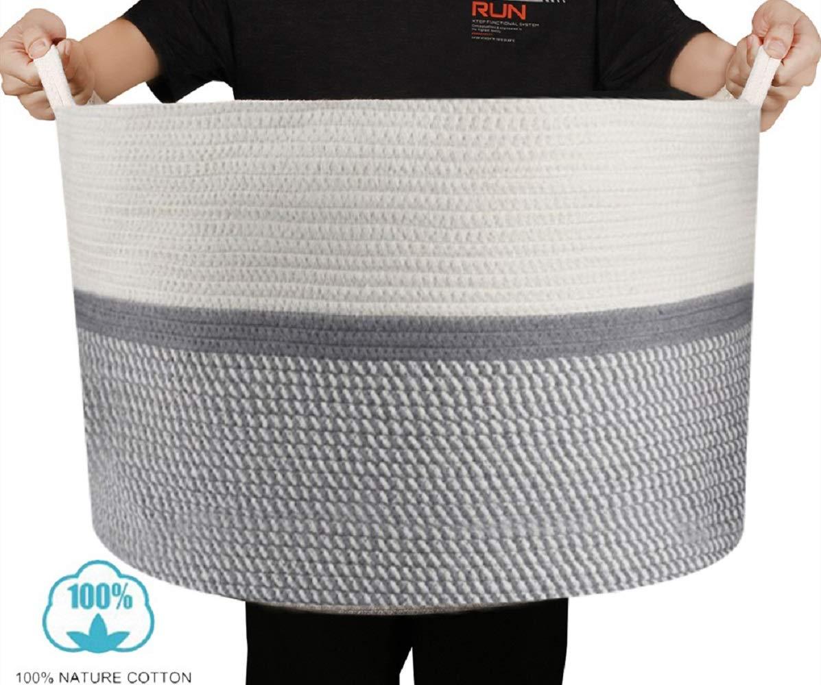 BONATURE Design XXXLarge Cotton Rope Basket- 22'' x 22'' x 14'' - 100% Cotton - Blanket Basket with Handles - Extra Large Toy Basket Toy Storage Woven Basket Blanket Storage Laundry Basket by mycute baby