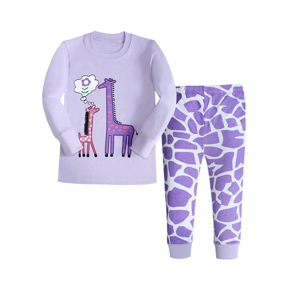 Giraffe Pajamas for Girls, 100% Cotton Children Sleepwear Kids PJs Gift Set size 2Y-7Y(Purple 4T)