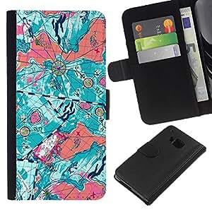 KLONGSHOP // Tirón de la caja Cartera de cuero con ranuras para tarjetas - Arte abstracto del trullo Naranja Mapa - HTC One M7 //