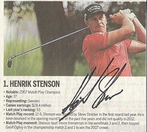 Henrik Stenson Golf Star Signed Autographed 5x5 Newspaper Clip W/coa Authentic Autographed Golf Equipment