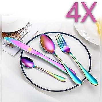 RUILASA - Cuchillos y tenedores de acero inoxidable para 4 ...