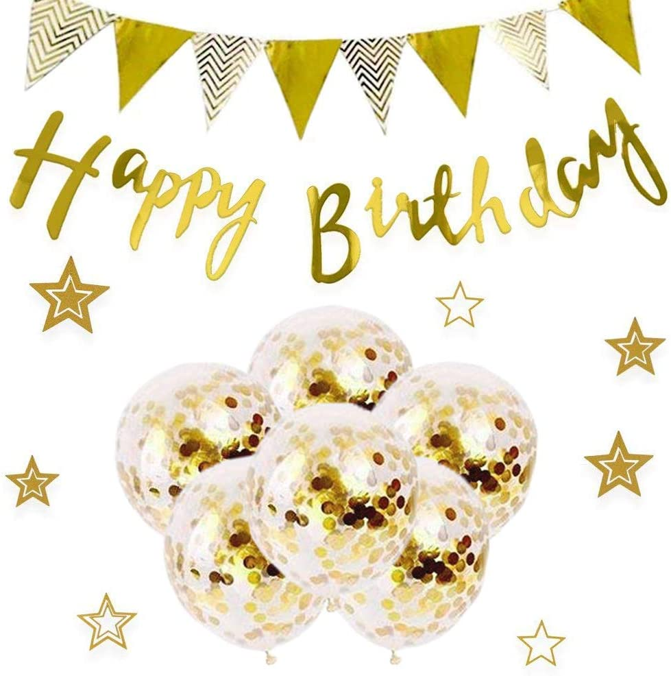 15 Pieces Gold Birthday Party Decor Set, Happy Birthday Sign Banner Bunting,Sparkling Stars and Balloons for Baby Shower and Adult Party Decorations