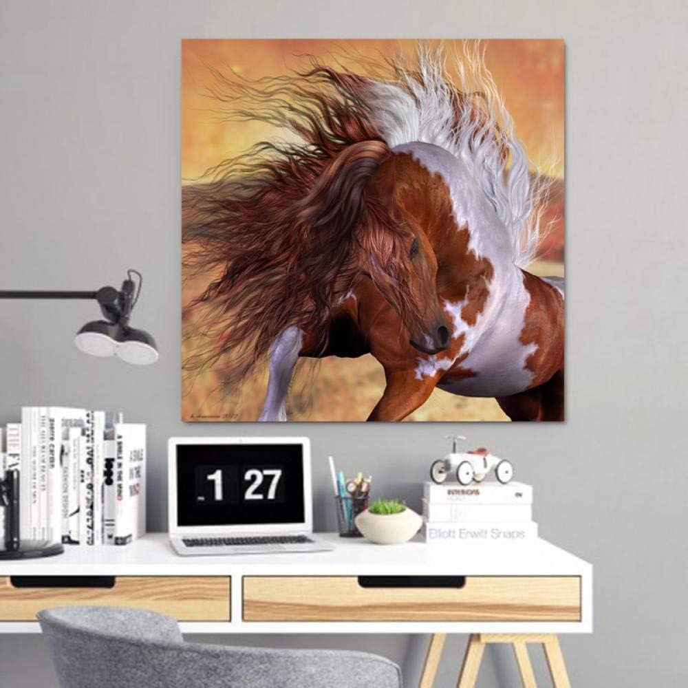 QianLei Arte Moderno Animal Pintura Sexy Pelo de Caballo Cuadros para Sala Lienzo Arte impresión Carteles decoración-50x50 cm sin Marco