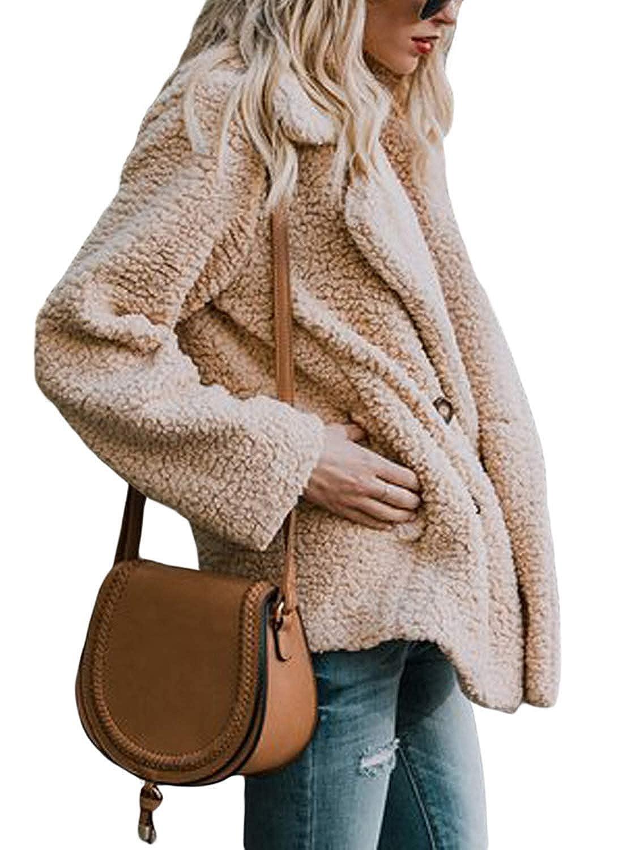 Yanekop Womens Sherpa Fuzzy Fleece Open Front Cardigan Jacket Outwear with  Pockets at Amazon Women s Coats Shop 9b1b74449