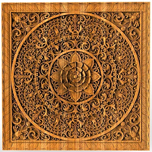 Mandala Wood carved Oriental Home decor Wall Hanging Art Work Oriental ornament Bed Panel Wood gift (Carving Panel Wall Wood)