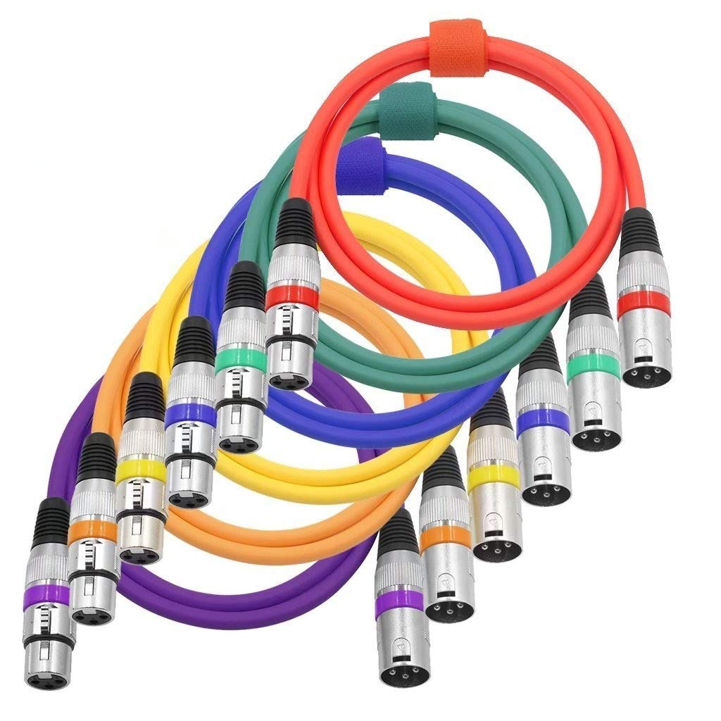 Color Xlr Cable 6 Pack 65 Feet 2 Meters 3 Pin Male To Female Wiring Dmx Stage
