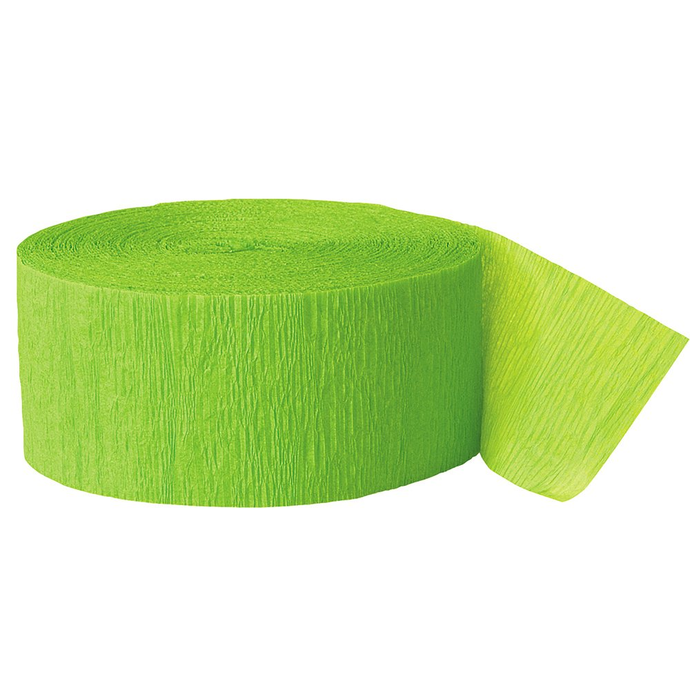 Crepe Paper Streamers, 500 Feet, Lime Green