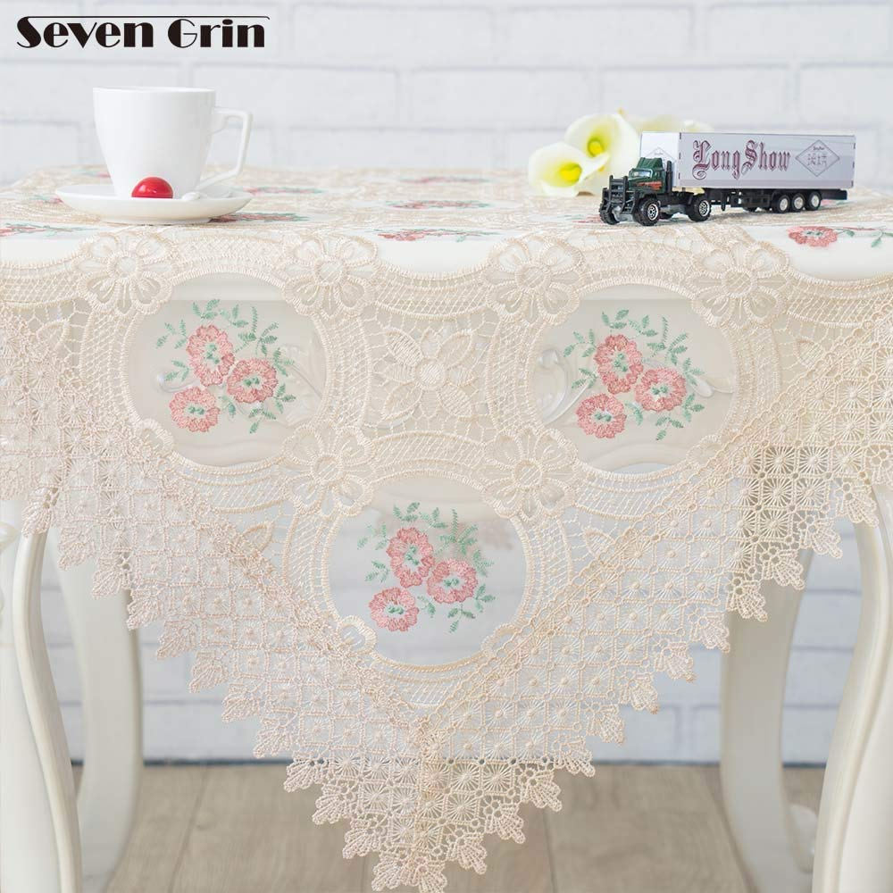 Free Shipping Organza Floral Tablecloth Europe Pastoral Style Colorful Embroidered Table Cloth For Home Dining Decoration  Multi B07SKWWKL8
