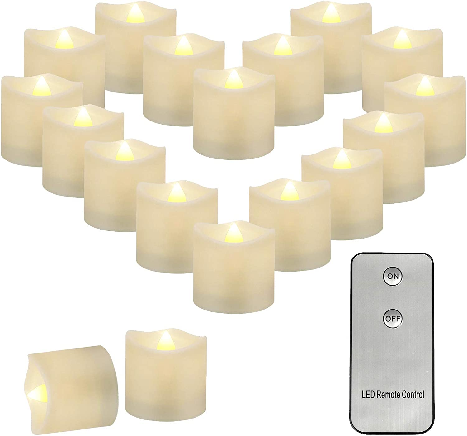 Aulaygo 12pcs LED Flameless Tealight Candles with Remote Control Warm White Battery Powered Tea Lights Realistic Fake Candles for Christmas Church Home Decor Theme Party Wedding Birthday