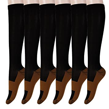 39dbb3d3cf Graduated Copper Compression Socks 6 Pairs Anti Fatigue Knee High Socks For Men  Women Pain Ache