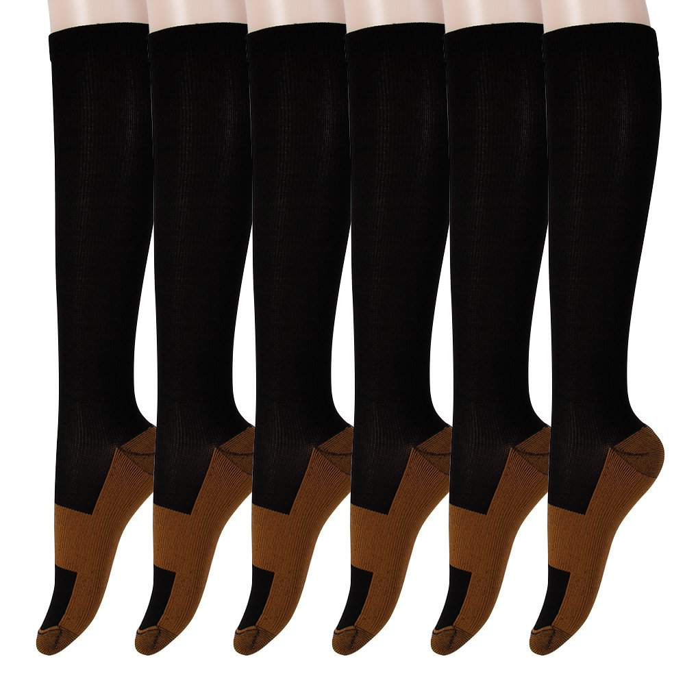 Graduated Copper Compression Socks 6 Pairs Anti Fatigue Knee High Socks For Men Women Pain Ache Relief Stockings-15-20 mmHg (XXL, Black)