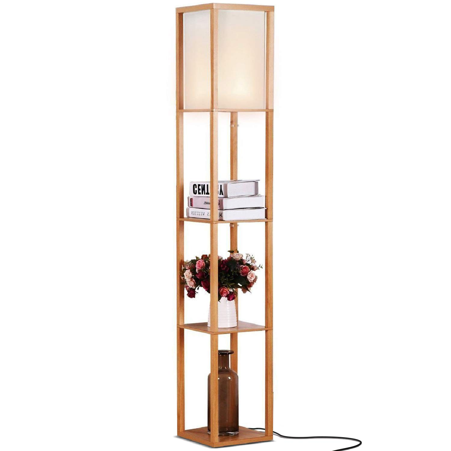 Brightech Maxwell - LED Shelf Floor Lamp - Modern Standing Light for Living Rooms & Bedrooms - Asian Wooden Frame with Open Box Display Shelves - Natural Wood by Brightech