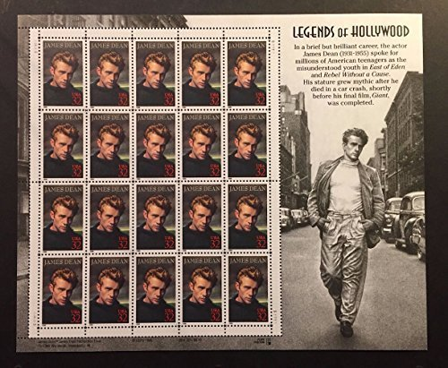 James Dean: Legends of Hollywood, Full Sheet of 20 x 32-Cent Postage Stamps, USA 1996, Scott - Dean Sunglasses