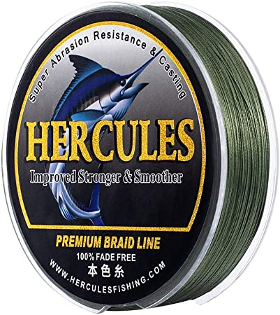 HERCULES Braided Fishing Line, Not Fade, 109-1094 Yards PE Lines, 8 Strands Multifilament Fish line, 10lb - 120lb Test for Saltwater and Freshwater, Abrasion Resistant