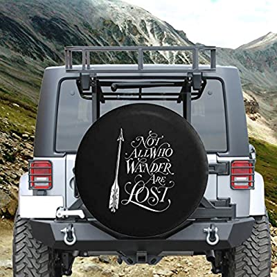 Not All Who Wander are Lost - Arrow Art Spare Tire Cover fits SUV Camper RV Accessories White Ink 27.5 in: Automotive
