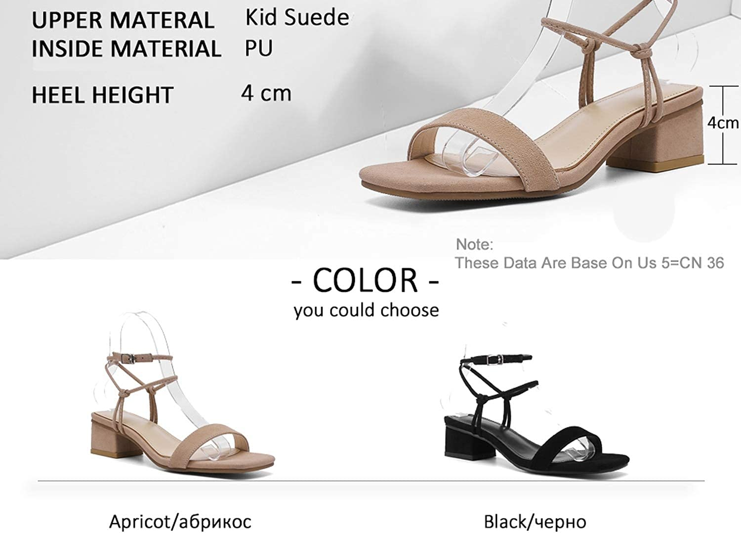 longing-summer Women Sandal Coarse Middle Heel Kid Suede Square Open-Toed Buckle Hollow Slingback Concise
