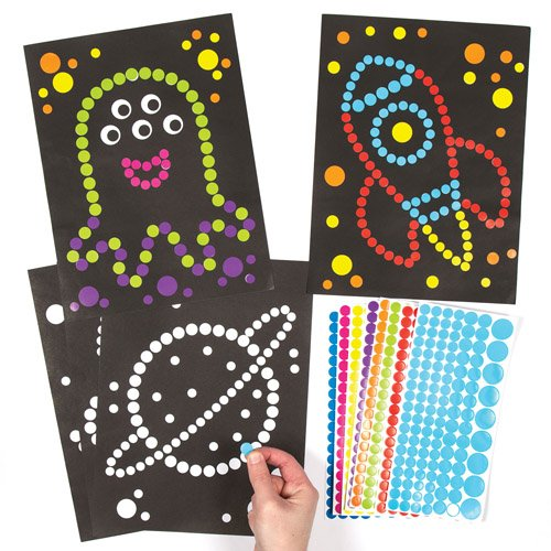 Baker Ross Solar System Dotty Art Pictures Creative Educational Set for Children to Design Decorate and Display (Pack of 8) -