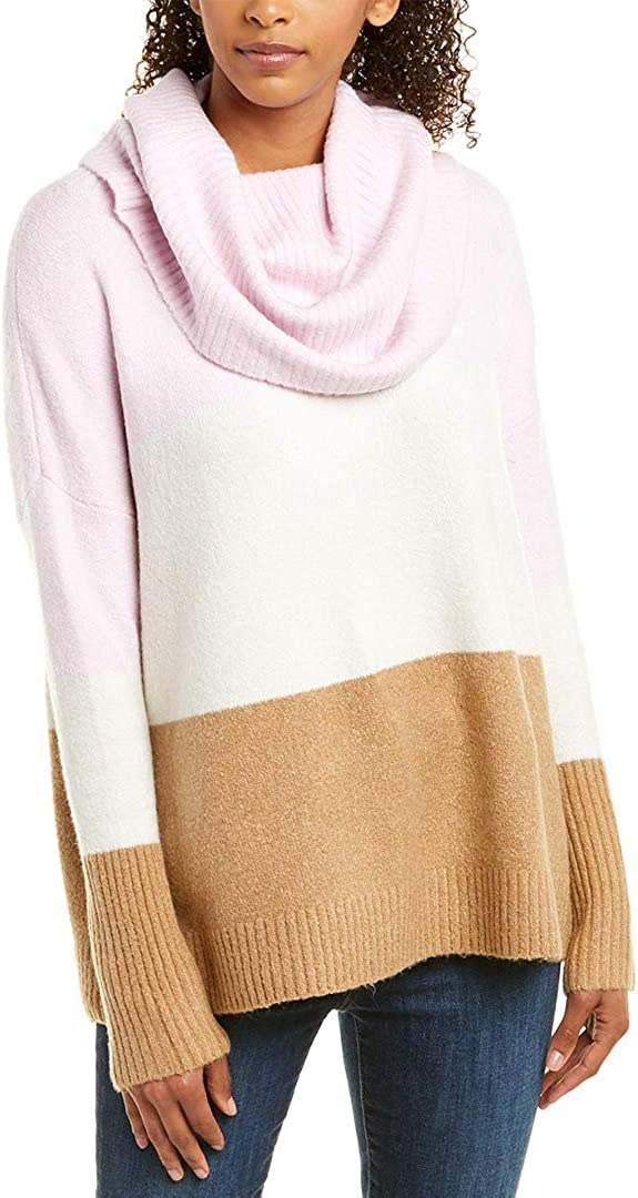 Pink S French Connection Womens Flossy Ribbed Cowl Sweater