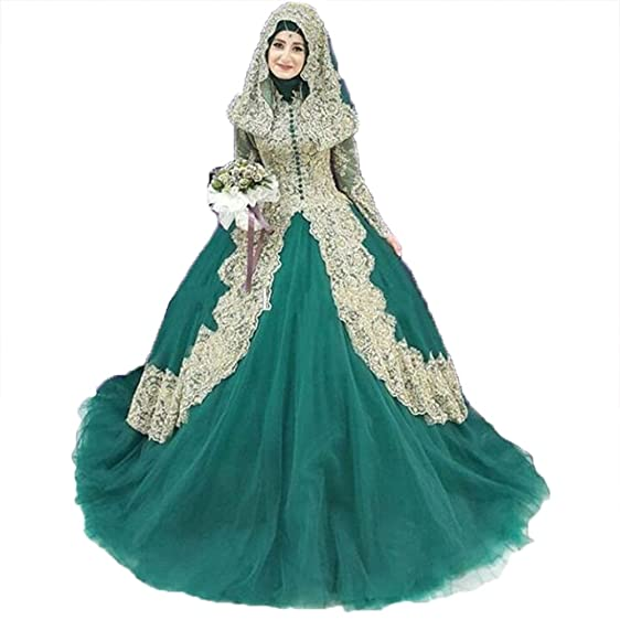 Chenghouse Ball Gown Arabian Prom Dresses Long Sleeves Evening DressesTurquoise-US2