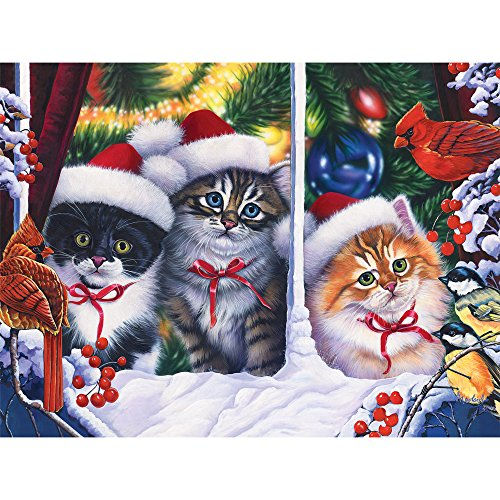 Bits and Pieces - 300 Large Piece Jigsaw Puzzle for Adults - Christmas Cats in the Window - 300 pc Kittens, Birds, Holiday Jigsaw by Artist Jenny Newland