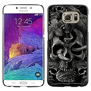 Paccase / Dura PC Caso Funda Carcasa de Protección para - Skull Rock Roll Metal Ink Tattoo Black - Samsung Galaxy S6 SM-G920