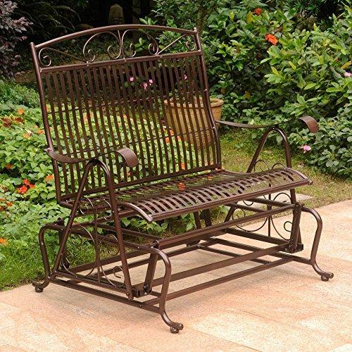 International Caravan 52587-OG-165257-O-852732 Iron Outdoor Double Patio Glider Chair, Hammered ()