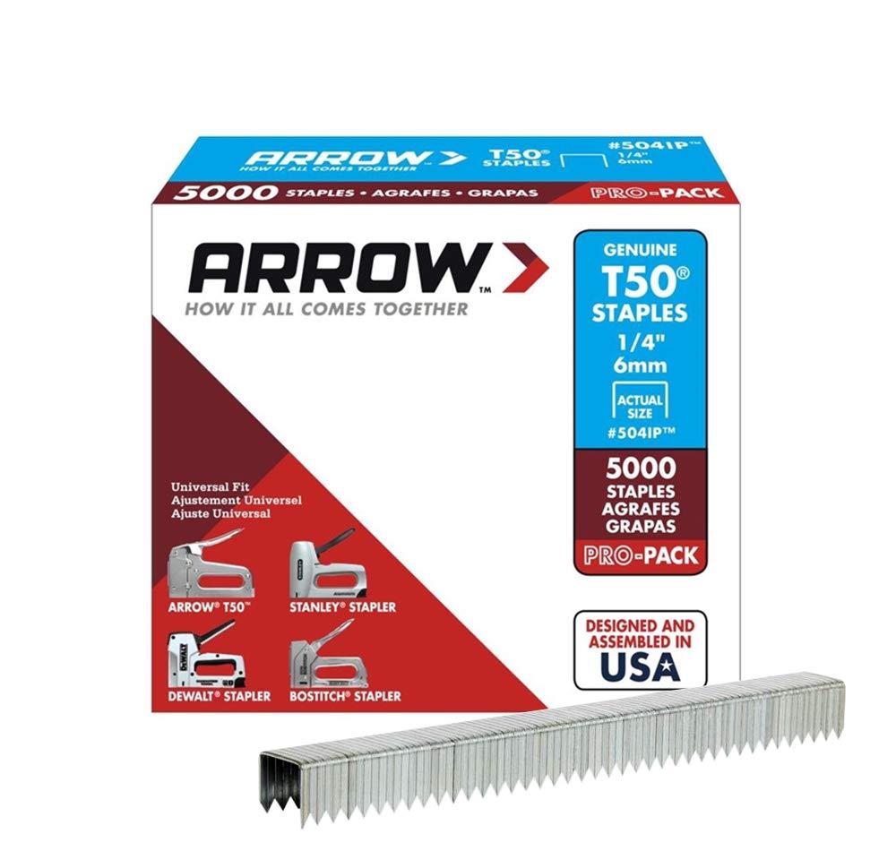 B00004Z2J0 Arrow Fastener 504IP Genuine T50 1/4-Inch Staples, 5,000-Pack 61kVk2BcNQzL