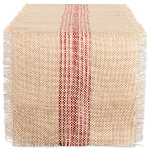 DII 14x108 Jute/Burlap Table Runner, Stripe Barn Red - Perfect for Fall, Thanksgiving, Catering Events, Farmhouse Décor, Dinner Parties, Weddings or Everyday Use Rustic Stripe