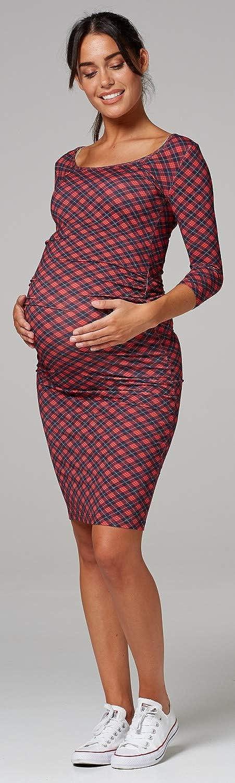 Femme Maternit/é Robe Moulante Encolure D/égag/ée Demi Manche.939p Happy Mama