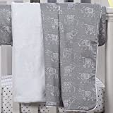 Liz and Roo Tribal Elephants Minky Receiving Blanket, Gray