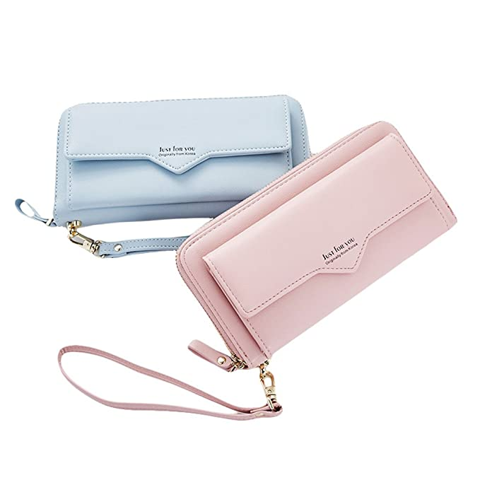 best website 8b75b b7588 Women Wallet Leather Clutch Wallet Ladies Fashion Card Holder Purse Zipper  Handbag Wristlet Strap Front Pocket For Cellphone