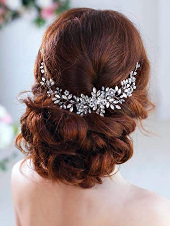 Barogirl Crystal Hair Piece Wedding Hair Vine Silver Rhinestone Headpiece Bridal Headbands For Women