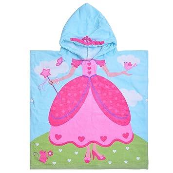 laamei Algodón Poncho Encapuchado Toalla de Baño Playa Transpirable Albornoces de Dibujos Animados Delfín Infantiles (60x58cm): Amazon.es: Hogar