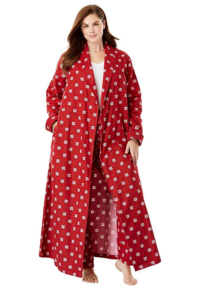 Dreams & Co. Women's Plus Size Long Flannel Robe - Classic Red Snowflakes, 4X 859962277mk4X~4X