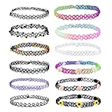 12PC Choker Rainbow Flowers Stretch Gothic Tattoo Henna Necklace offers