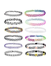 BodyJ4You 12PC Choker Rainbow Charm Stretch Gothic Tattoo Henna Necklace