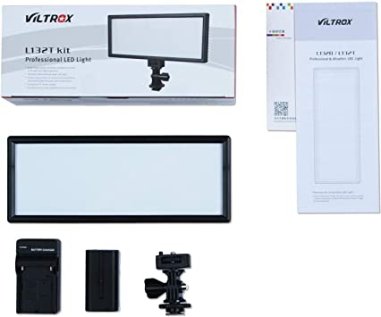 with NP-F550 battery and charger VILTROX L132T 0.78//2cm Ultra Thin CRI95 5600K//3300K Bi-color LED Video Light Dimmable Flat Panel Light