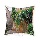 VROSELV Custom Cotton Linen Pillowcase Landscape Summer Garden Flowers Marigold Stones Antique Ancient House in Spain Art Print for Bedroom Living Room Dorm Multicolor 20''x20''