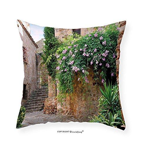 VROSELV Custom Cotton Linen Pillowcase Landscape Summer Garden Flowers Marigold Stones Antique Ancient House in Spain Art Print for Bedroom Living Room Dorm Multicolor 20''x20'' by VROSELV