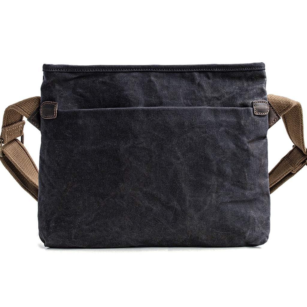 Retro Oil Wax Canvas Bag Mens Messenger Bag Ipad Bag Color : Gray, Size : S