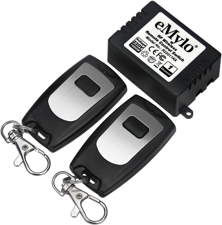 eMylo - Modulo inalámbrico de relé con mando a distancia, canal de radiofrecuencia, corriente alterna, 220V-230V-240V, 1000W (un módulo de relé inalámbrico + dos control remoto)