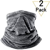 JIUSY 2 Pack or 1 Pack - Soft Fleece Neck Gaiter Warmer Face Mask for Winter Outdoor Sports