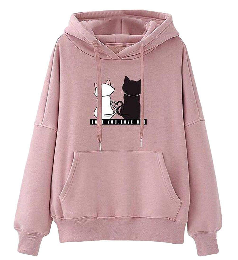 Zantt Womens Cute Long Sleeve Cat Print Hoodie Tops Sweatshirts with Pockets