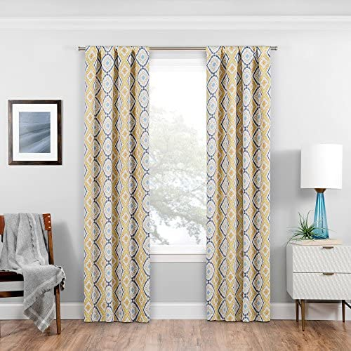 ECLIPSE Room Darkening Curtains for Bedroom – Morrow 37 x 63 Thermal Insulated Single Panel-Rod Pocket Light Blocking Curtains for Living Room, Gold