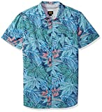 LEE Men's Short Sleeve Pattern Woven, Indigo Blue, Large