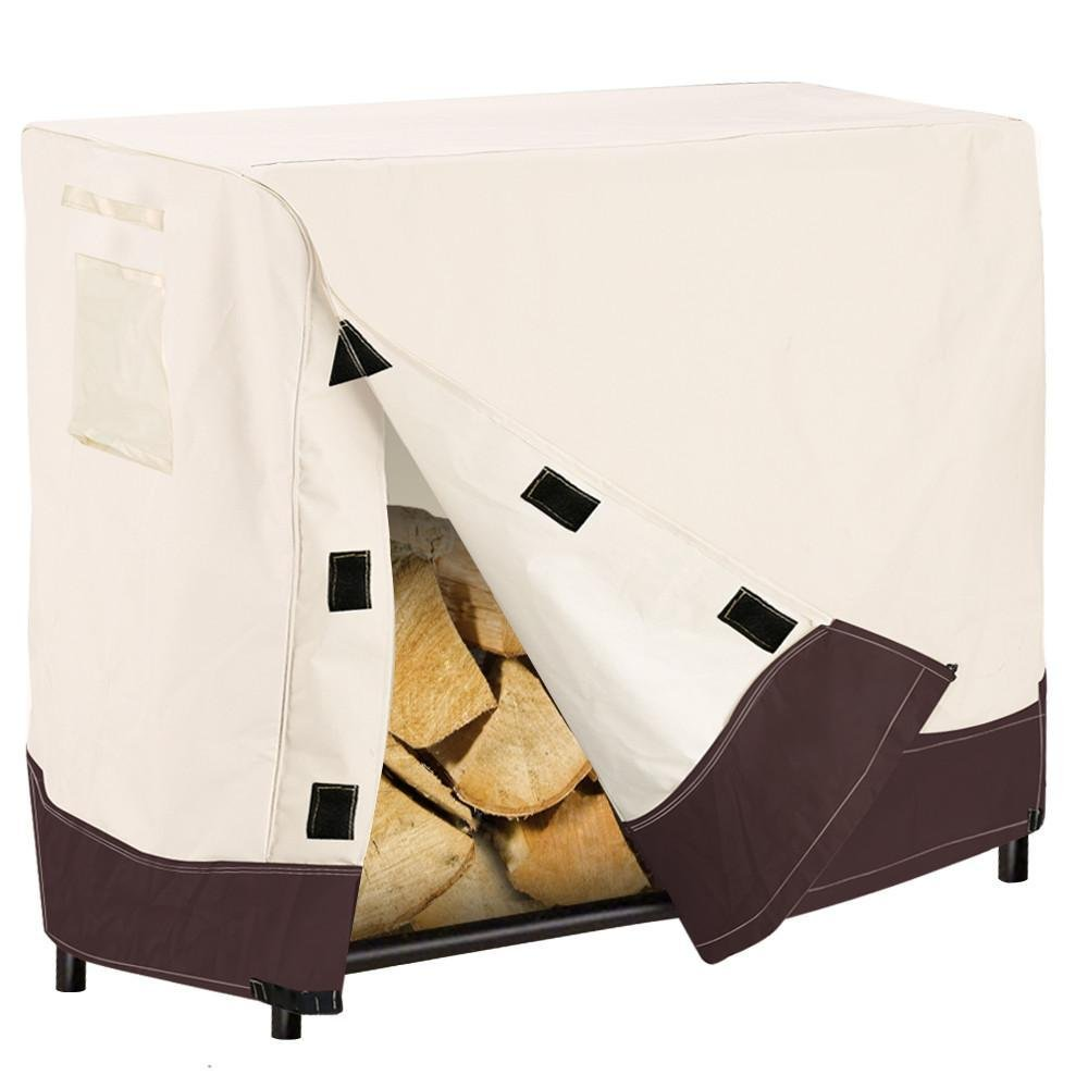 Topeakmart Log Rack Cover Veranda UV Resistant & Waterproof & 420D Oxford with PU coated, 4 x 2x 3.5 ft (LxWxH)