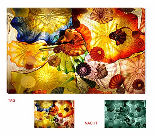 Startonight Canvas Wall Art Feeling Hypnotic, Flowers Glow in the Dark, Dual View Surprise Artwork Modern Framed Ready to Hang Wall Art 100% Original Art Painting 80 x 120 cm by Startonight