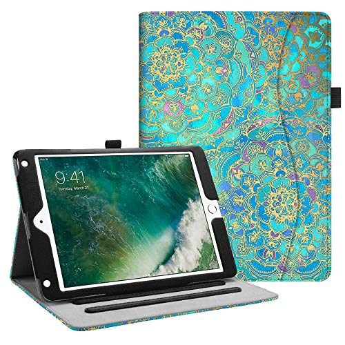 Fintie iPad 9.7 2018 2017 / iPad Air 2 / iPad Air Case - [Corner Protection] Multi-Angle Viewing Folio Cover w/Pocket, Auto Wake/Sleep for Apple iPad 6th / 5th Gen, iPad Air 1/2, Shades of Blue